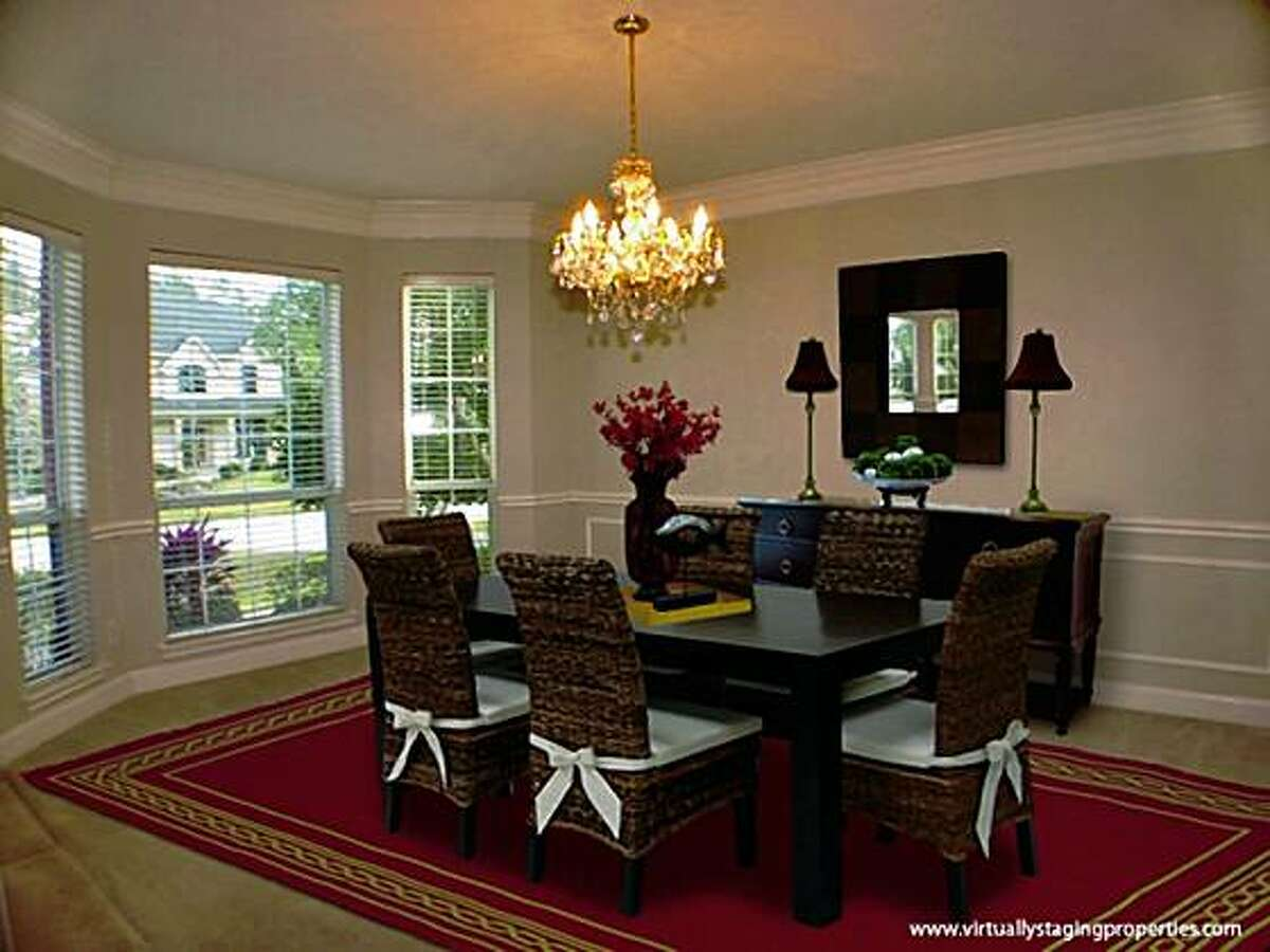 The dining room after it has been staged virtally. The company Virtually Staging Properties in Atlanta charges $225 to enhance three photos - say of the kitchen, living room and dining room. Four photos cost $280; five, $325. Each additional photo is $60.