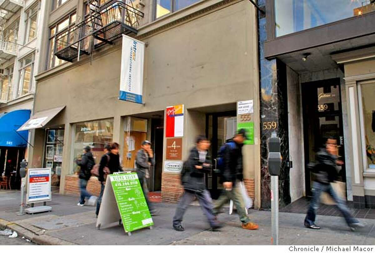 Maxwell Galleries on Sutter St. in San Francisco, Calif., was turned into an art gallery owned by Katherine Hepburn for the movie. It is now the Intrax International Institute, English Instruction business at 551 Sutter, business at the left center of the photop, the Original Maxwell Gallery moved down 2 doors to 559 Sutter about 5-6 years ago. Photo by Michael Macor/ San Francisco Chronicle , on 2/20/08