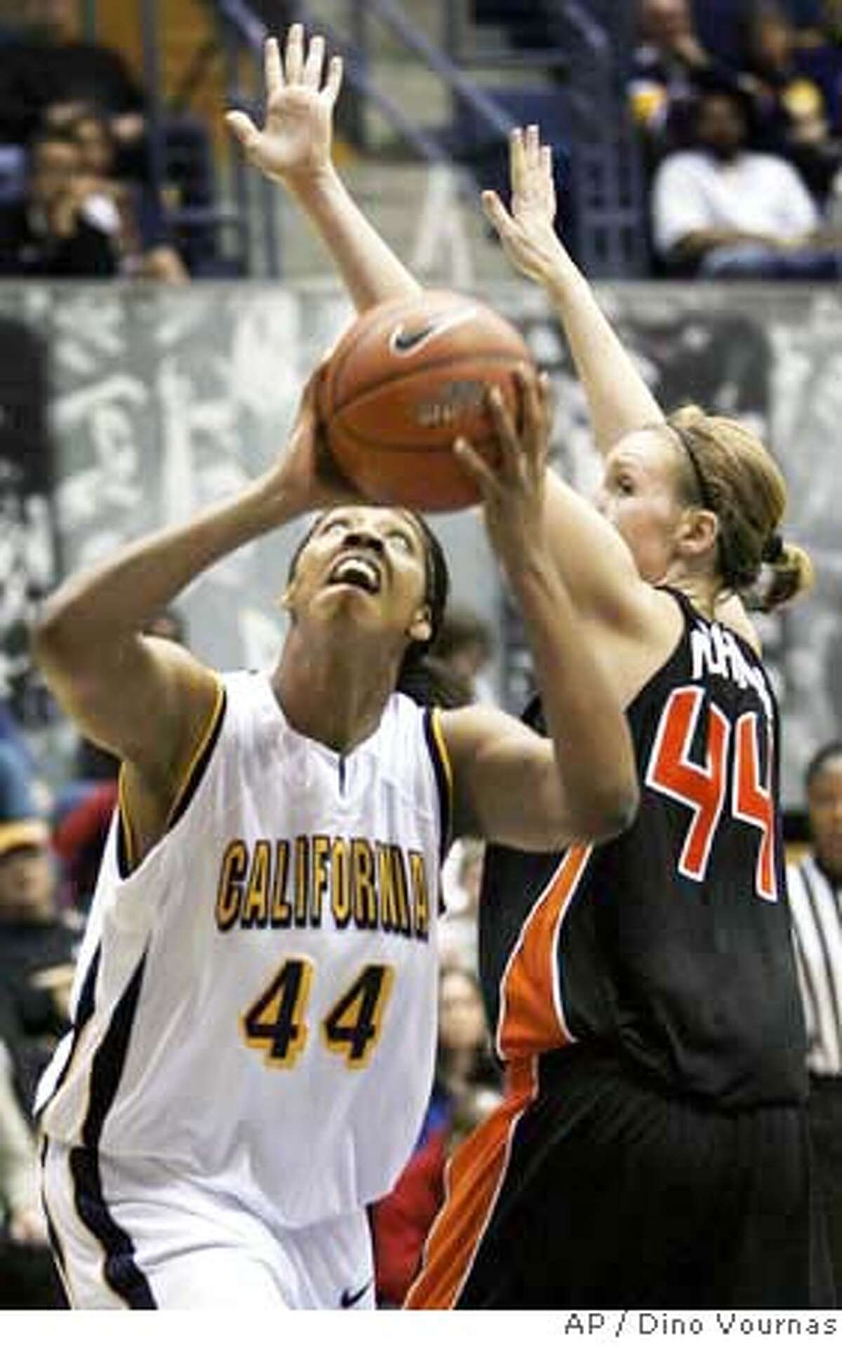 ###Live Caption:California's Ashley Walker (44) goes up for a shot against Oregon State's Stacey Nichols in the second half of a basketball game, Saturday, Jan. 12, 2008, in Berkeley, Calif. California won 61-45. (AP Photo/Dino Vournas)###Caption History:California's Ashley Walker (44) goes up for a shot against Oregon State's Stacey Nichols in the second half of a basketball game, Saturday, Jan. 12, 2008, in Berkeley, Calif. California won 61-45. (AP Photo/Dino Vournas) Ran on: 01-13-2008 Cals Ashley Walker and Stanfords Candice Wiggins helped their teams post easy wins in Pac-10 play Saturday. The day was a busy one in college basketball, highlighted by UCLA beating Washington State in a big Pac-10 mens game. Pages D6-9 Ran on: 01-13-2008###Notes:Ashley Walker, Stacey Nichols###Special Instructions:EFE OUT