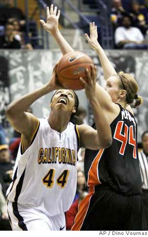 ###Live Caption:California's Ashley Walker (44) goes up for a shot against Oregon State's Stacey Nichols in the second half of a basketball game, Saturday, Jan. 12, 2008, in Berkeley, Calif. California won 61-45. (AP Photo/Dino Vournas)###Caption History:California's Ashley Walker (44) goes up for a shot against Oregon State's Stacey Nichols in the second half of a basketball game, Saturday, Jan. 12, 2008, in Berkeley, Calif. California won 61-45. (AP Photo/Dino Vournas)  Ran on: 01-13-2008  Cal's Ashley Walker and Stanford's Candice Wiggins helped their teams post easy wins in Pac-10 play Saturday. The day was a busy one in college basketball, highlighted by UCLA beating Washington State in a big Pac-10 men's game. Pages D6-9  Ran on: 01-13-2008###Notes:Ashley Walker, Stacey Nichols###Special Instructions:EFE OUT Photo: Dino Vournas