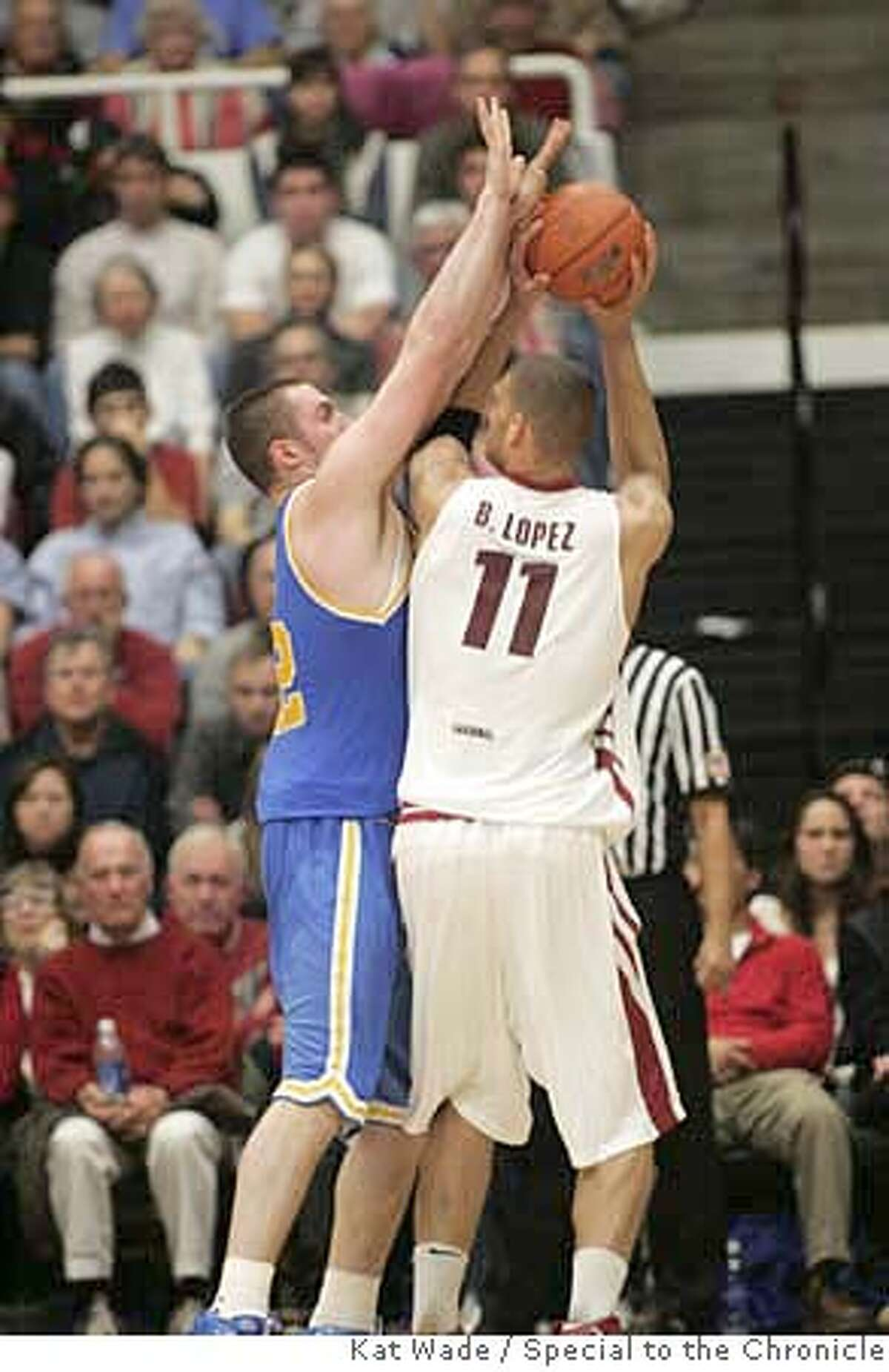 ###Live Caption:STANFORD_MEN_044_KW.JPG (L to R) UCLA's Kevin Love is fouled by Stanford's Brook Lopez while on defense when number 5 UCLA Bruins beat the the #24 Stanford Cardinals 76 to 67 during the second half of the PAC 10 conference on Thursday night 01/03/08 at Stanford's Maples Pavillion in Stanford, Ca . Photo by Kat Wade (CQ, Subject)###Caption History:STANFORD_MEN_044_KW.JPG (L to R) UCLA's Kevin Love is fouled by Stanford's Brook Lopez while on defense when number 5 UCLA Bruins beat the the #24 Stanford Cardinals 76 to 67 during the second half of the PAC 10 conference on Thursday night 01/03/08 at Stanford's Maples Pavillion in Stanford, Ca . Photo by Kat Wade (CQ, Subject)###Notes:415-609-9602###Special Instructions:Mandatory Credit for photographer, Kat Wade