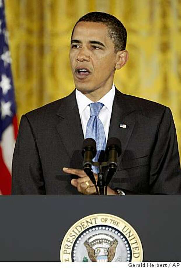 President Barack Obama delivers remarks on Iraq in the East Room of the White House in Washington, Tuesday, June 30, 2009. (AP Photo/Gerald Herbert) Photo: Gerald Herbert, AP