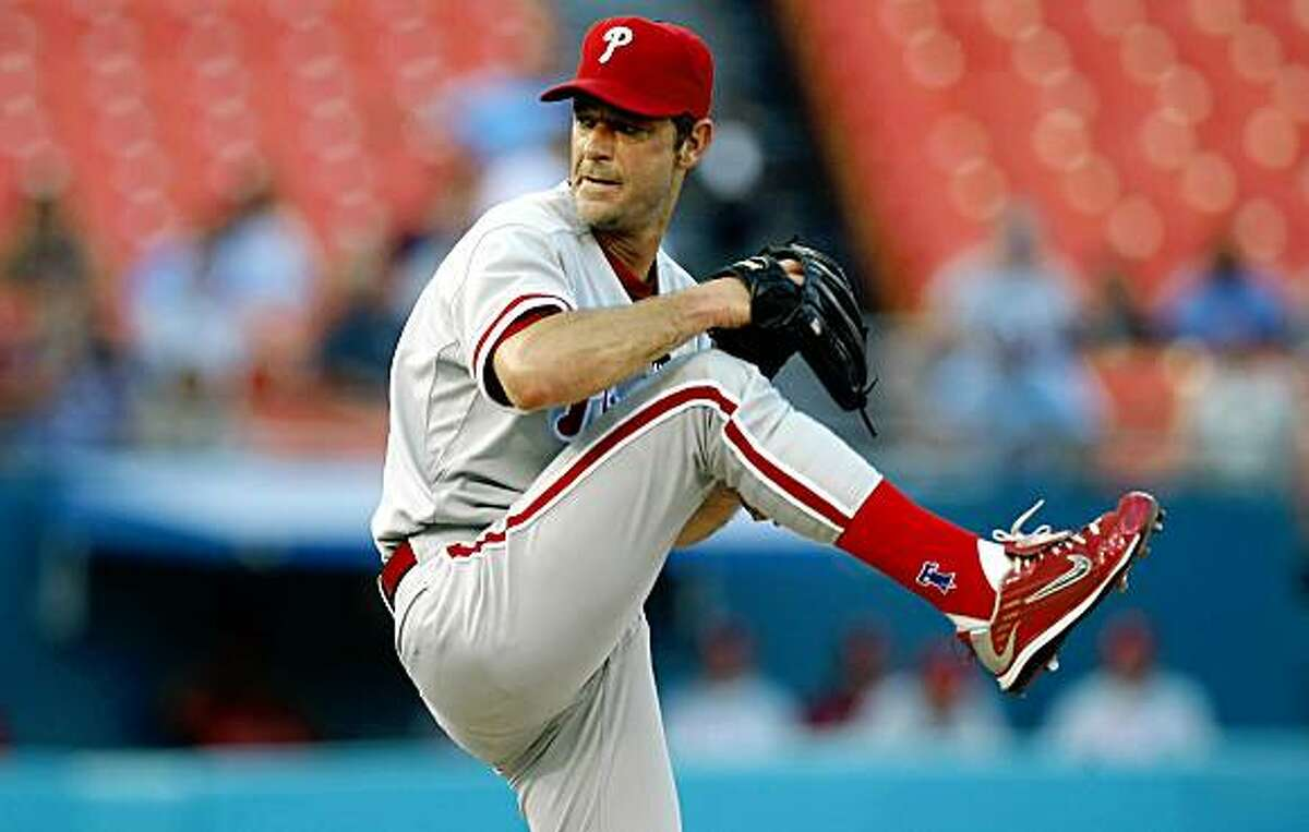 Philadelphia Phillies pitcher Jamie Moyer works against the Florida Marlins during the third inning of a baseball game in Miami, Thursday, July 16, 2009. (AP Photo/J Pat Carter)