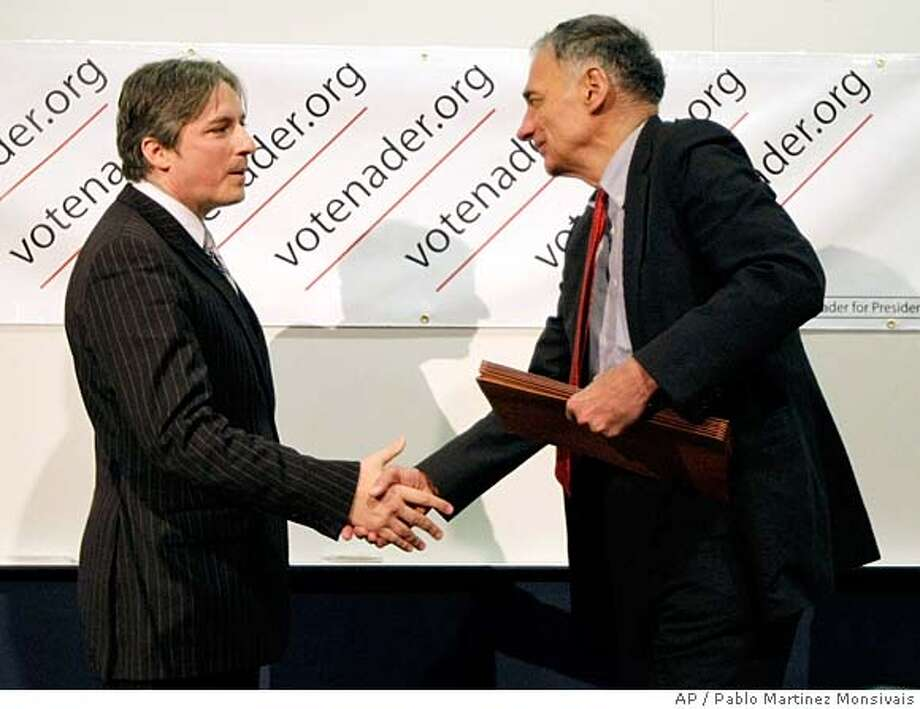"Independent presidential candidate, Ralph Nader, right, and his running mate Matt Gonzalez, shake hands at the ""Global Corporate States and the Destructive of Democratic Movements"" at George Washington University Thursday, Feb. 28, 2008 in Washington. (AP Photo/Pablo Martinez Monsivais) Photo: Pablo Martinez Monsivais"