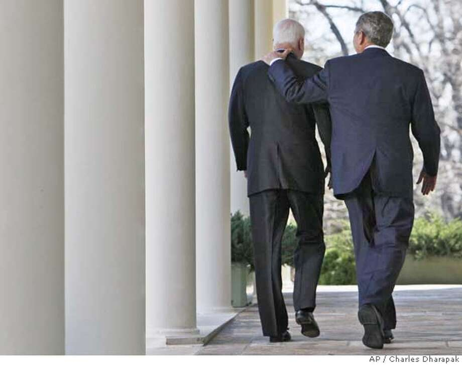###Live Caption:President Bush and Republican nominee-in-waiting, Sen. John McCain, R-Ariz. walk down the West Wing Colonnade of the White House in Washington, Wednesday, March 5, 2008, after speaking to reporters in the Rose Garden where the president announced his endorsement of McCain. (AP Photo/Charles Dharapak)###Caption History:President Bush and Republican nominee-in-waiting, Sen. John McCain, R-Ariz. walk down the West Wing Colonnade of the White House in Washington, Wednesday, March 5, 2008, after speaking to reporters in the Rose Garden where the president announced his endorsement of McCain. (AP Photo/Charles Dharapak)###Notes:George W. Bush, John McCain###Special Instructions: Photo: Charles Dharapak