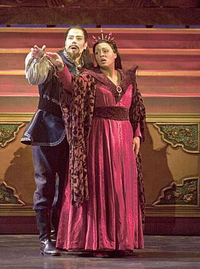 "Christopher Jackson (l.) as Calaf and Othalie Graham as Turandot in Puccini's ""Turandot"" at the Festival Opera Photo: Robert Shomler"