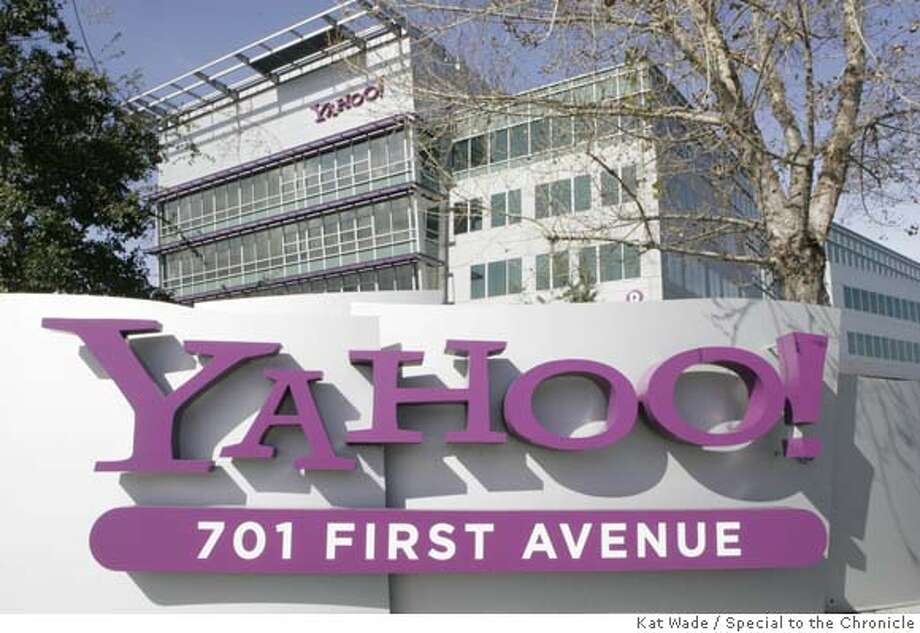 ###Live Caption:YAHOO_REACT02_003_KW.JPG The Yahoo! campus after Microsoft Corp. made a 44.6 billion dollar bid to buy YAHOO! in order to compete with Google Inc.on Friday, February 1, 2008 in Sunnyvale, Calif.. Photo by Kat Wade  (CQ, Subject)###Caption History:YAHOO_REACT02_003_KW.JPG The Yahoo! campus after Microsoft Corp. made a 44.6 billion dollar bid to buy YAHOO! in order to compete with Google Inc.on Friday, February 1, 2008 in Sunnyvale, Calif.. Photo by Kat Wade  (CQ, Subject) Ran on: 02-15-2008  Yahoo's Sunnyvale headquarters will be a little emptier.###Notes:###Special Instructions:Mandatory Credit for photographer, Kat Wade No Sales/Mags out Photo: Kat Wade