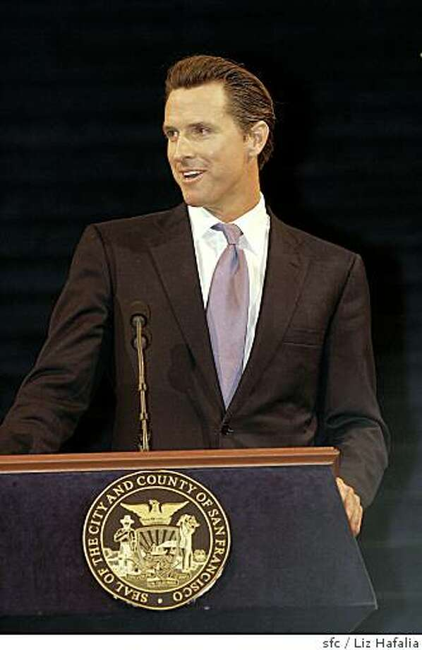 NEWSOM09_OATH_111_LH.JPG Mayor Gavin Newsom does a speech after taking his oath of office in the city hall rotunda.Liz Hafalia/The Chronicle/San Francisco/1/9/08**   cq Photo: Liz Hafalia, Sfc