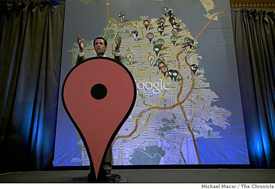 """Mayor Gavin Newson is just one of the many luminaries from around the world to help design the new project. His favorite spots are marked by the symbol of the Golden Gate Bridge.  Search engine Google unveils a new project """"Favorite Places"""" on Tuesday July 15, 2009, at City Hall in San Francisco, Calif. Photo: Michael Macor, The Chronicle"""