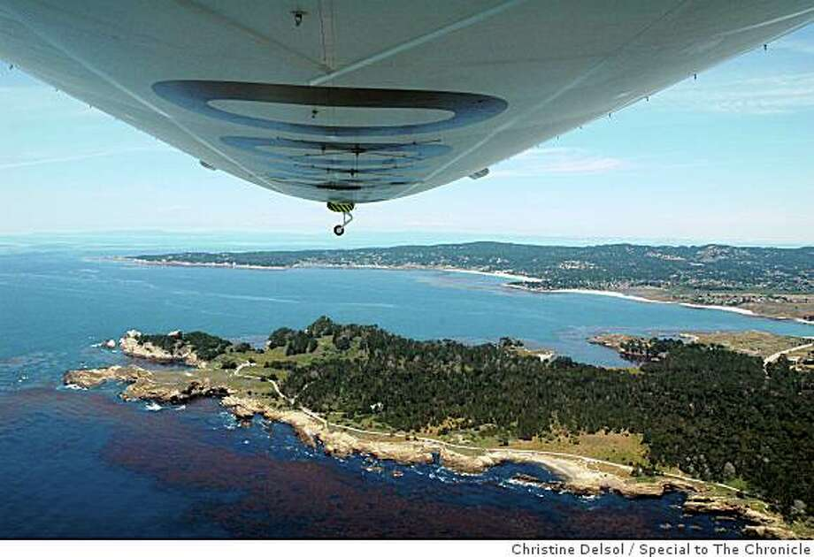 Airship flight over Monterey Monterey, CA -- The airship Eureka flying over Monterey Bay.  ONE-TIME USE for Sunday Datebook Travel 7/5/09 Photo: Christine Delsol, Special To The Chronicle