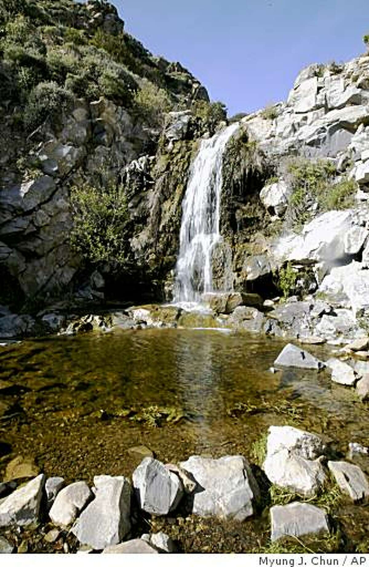 Southern California's La Jolla Canyon Trail passes a stream and a waterfall as it climbs and winds to the La Jolla Valley and its grassland in Point Mugu State Park, March 3, 2005.