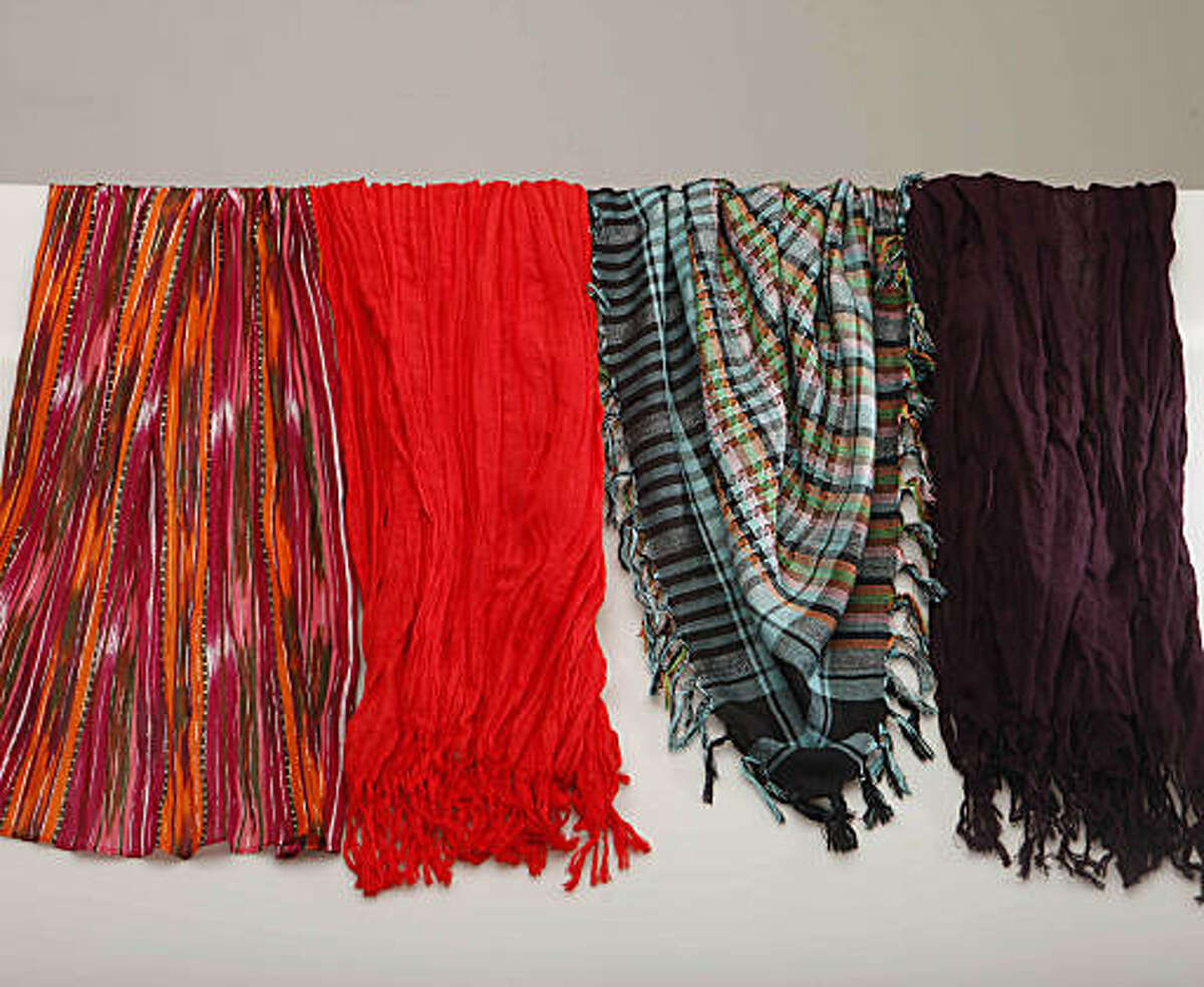 An assortment of summer scarves are photographed in the studio on Monday July 13, 2009 in San Francisco, Calif.