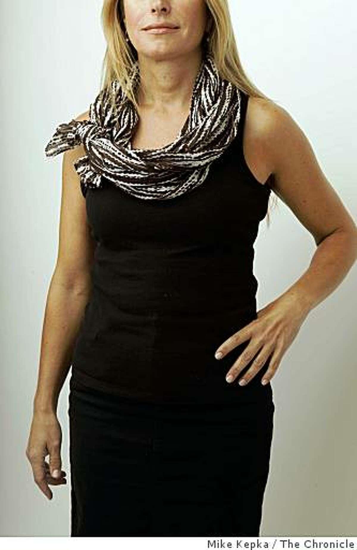 Carolyne Zinko models a summer scarf in the studio on Monday July 13, 2009 in San Francisco, Calif.