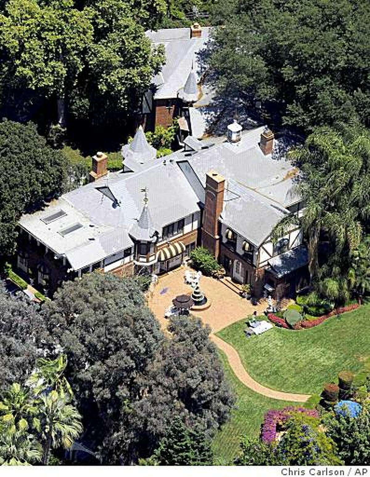 This aerial view shows the family home at the late pop star Michael Jackson's Neverland Ranch in Los Olivos, Calif. on Monday, June 29, 2009. (AP Photo/Chris Carlson)