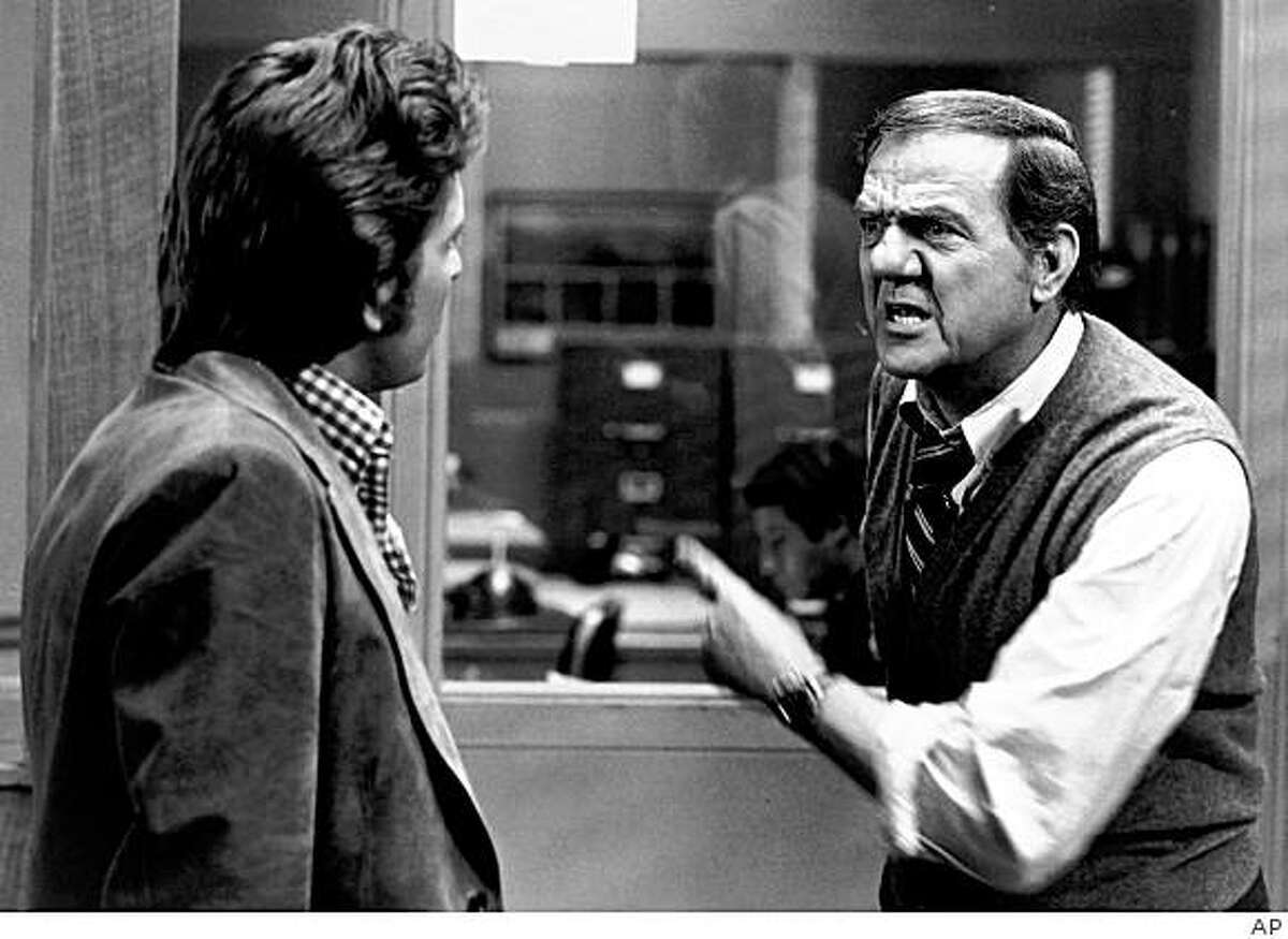 FILE - In this TV publicity image originally released by ABC in 1975, Karl malden, right, and Michael Douglas are shown in a scene from,