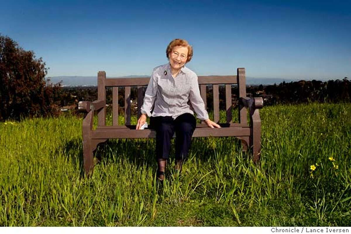Millie Kalish sits in a bed of wild oats and oxalis atop a hill in Cupertino. Kalish a former English professor is also atop the New York Times Best Sellers list for her book of memoir's that has a collection of stories, around her childhood. Kalish at the age of 85 wanted to leave her grandchildren a book that tells them about what it was like growing up during the depression in a small Iowa farm town. Thursday February 28, 2008 photo By Lance Iversen / San Francisco Chronicle.