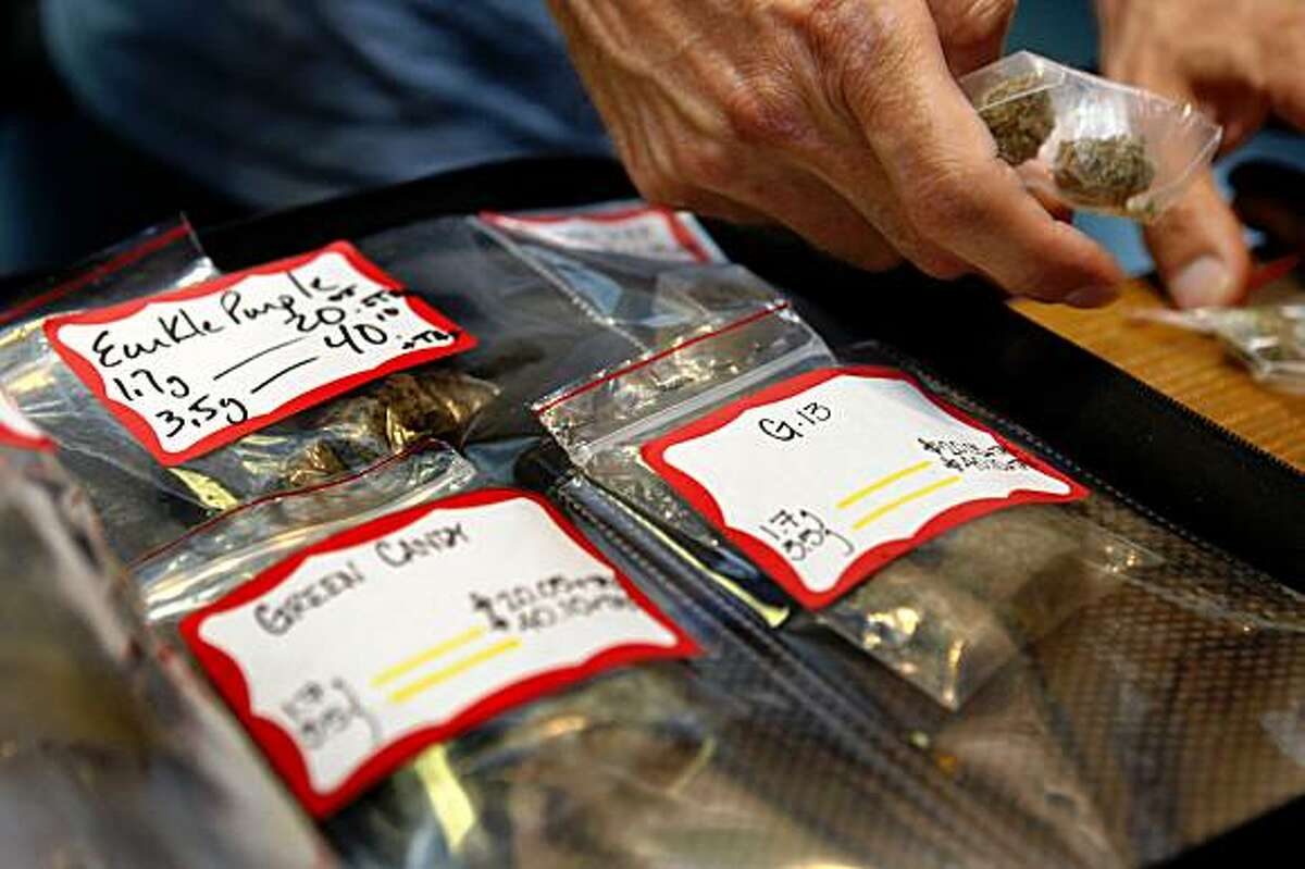 Pre-packaged marijuana at Coffeeshop Blue Sky in Oakland, Calif., on Thursday, July 16, 2009.