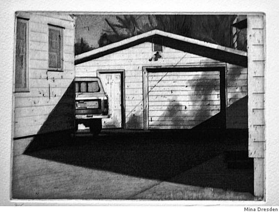 """Toru Sugita's aquatint etching """"Passer-by"""" is one of the small black-and-white works published in ZYZZYVA and featured in a current retrospective at Mina Dresden Gallery. Photo: Mina Dresden"""
