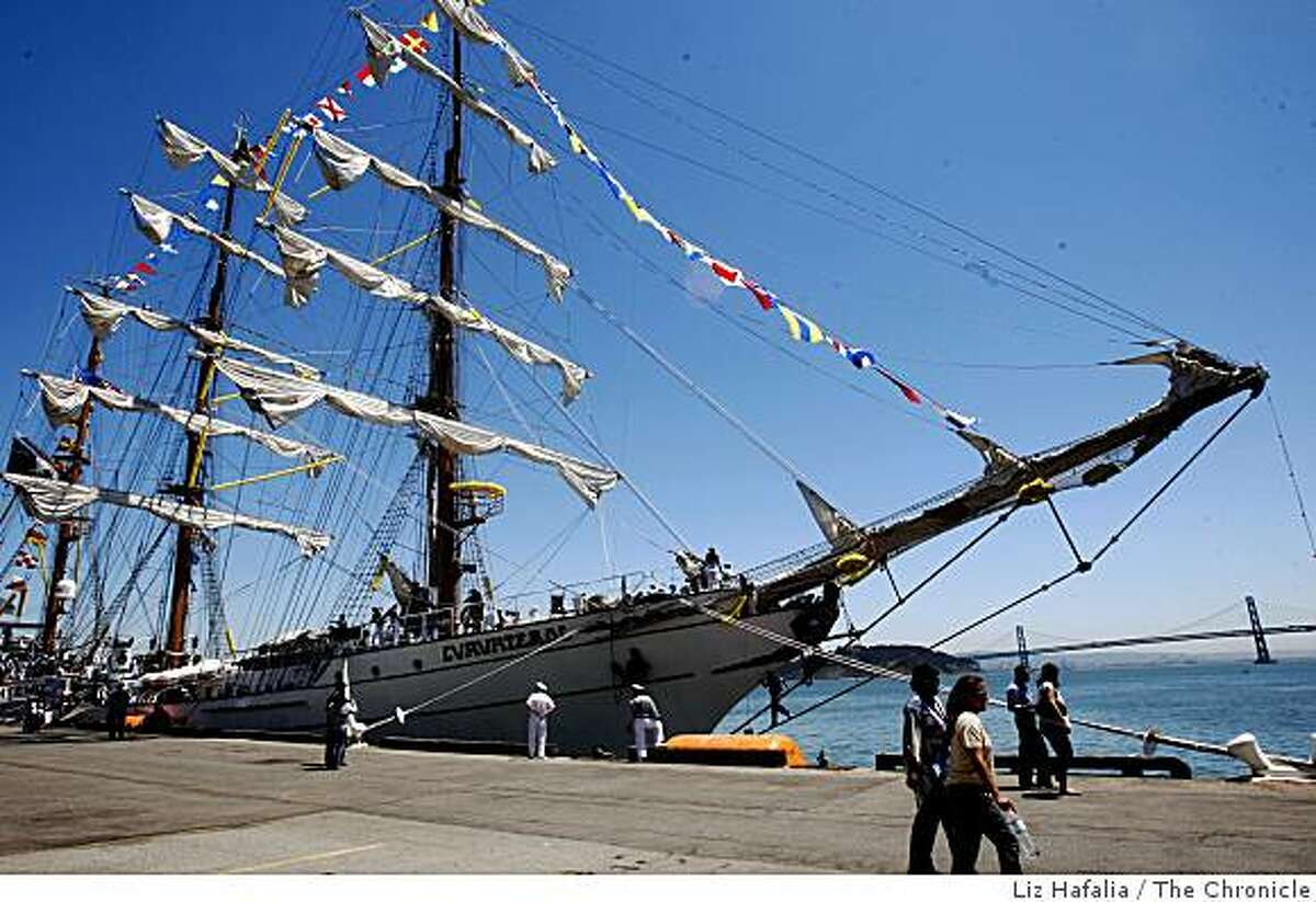 The Mexican Naval Academy's training vessel, Cuauhtemoc, a 270 foot sail training ship arriving this morning at Pier 27 in San Francisco Bay , Calif., on Monday, July 13, 2009.