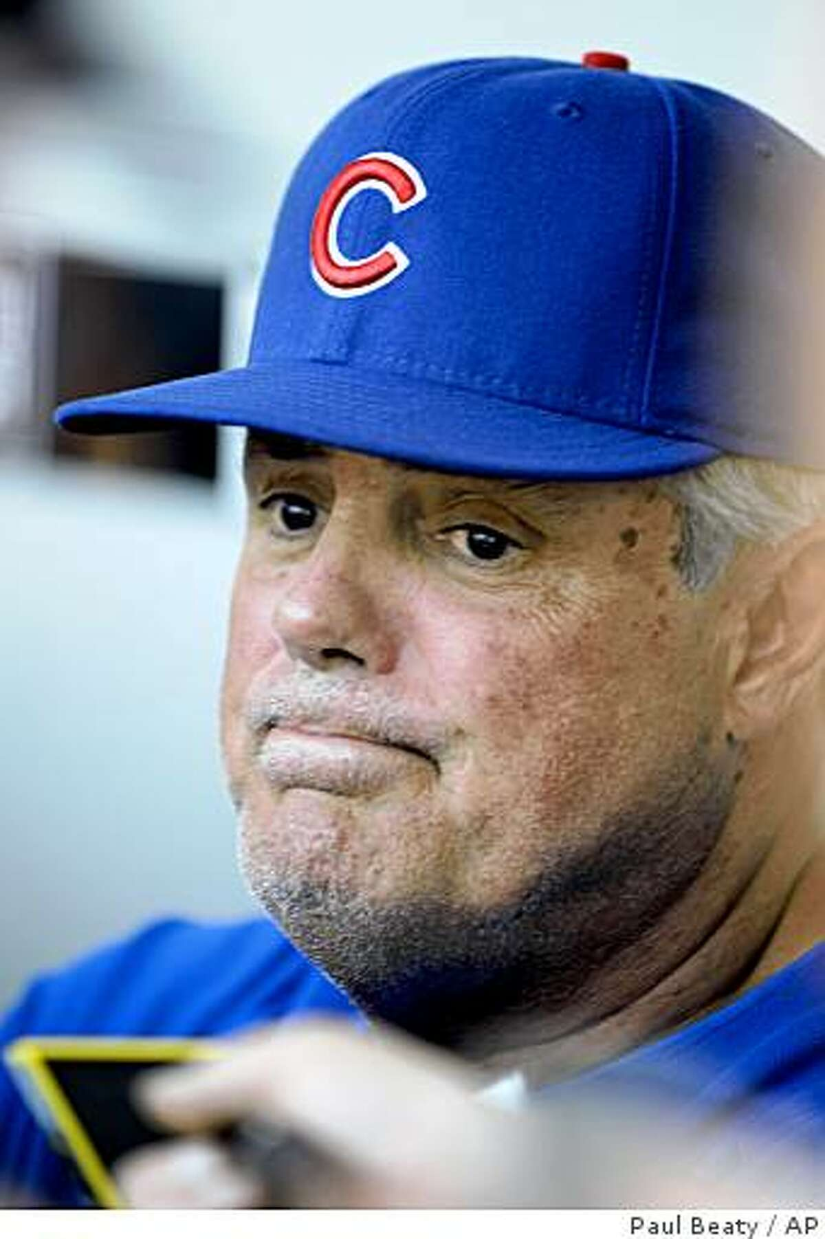 Chicago Cubs manager Lou Piniella talks to the media before an interleague baseball game against the Chicago White Sox at U.S. Cellular Field in Chicago, on Friday, June, 26, 2009. (AP Photo/Paul Beaty)