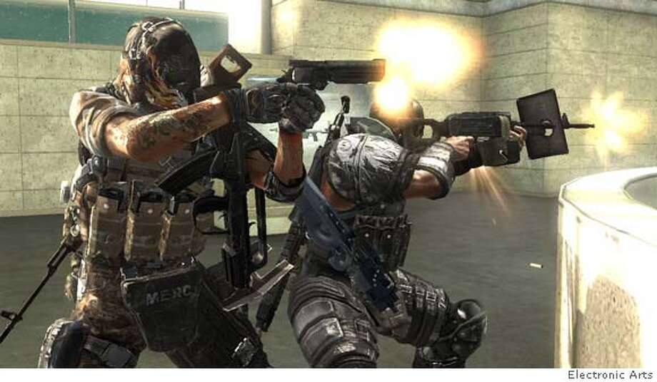 """###Live Caption:screenshot from cooperative game """"army of two"""" by Electronic arts.###Caption History:screenshot from cooperative game """"army of two"""" by Electronic arts.###Notes:###Special Instructions: Photo: Electronic Arts"""