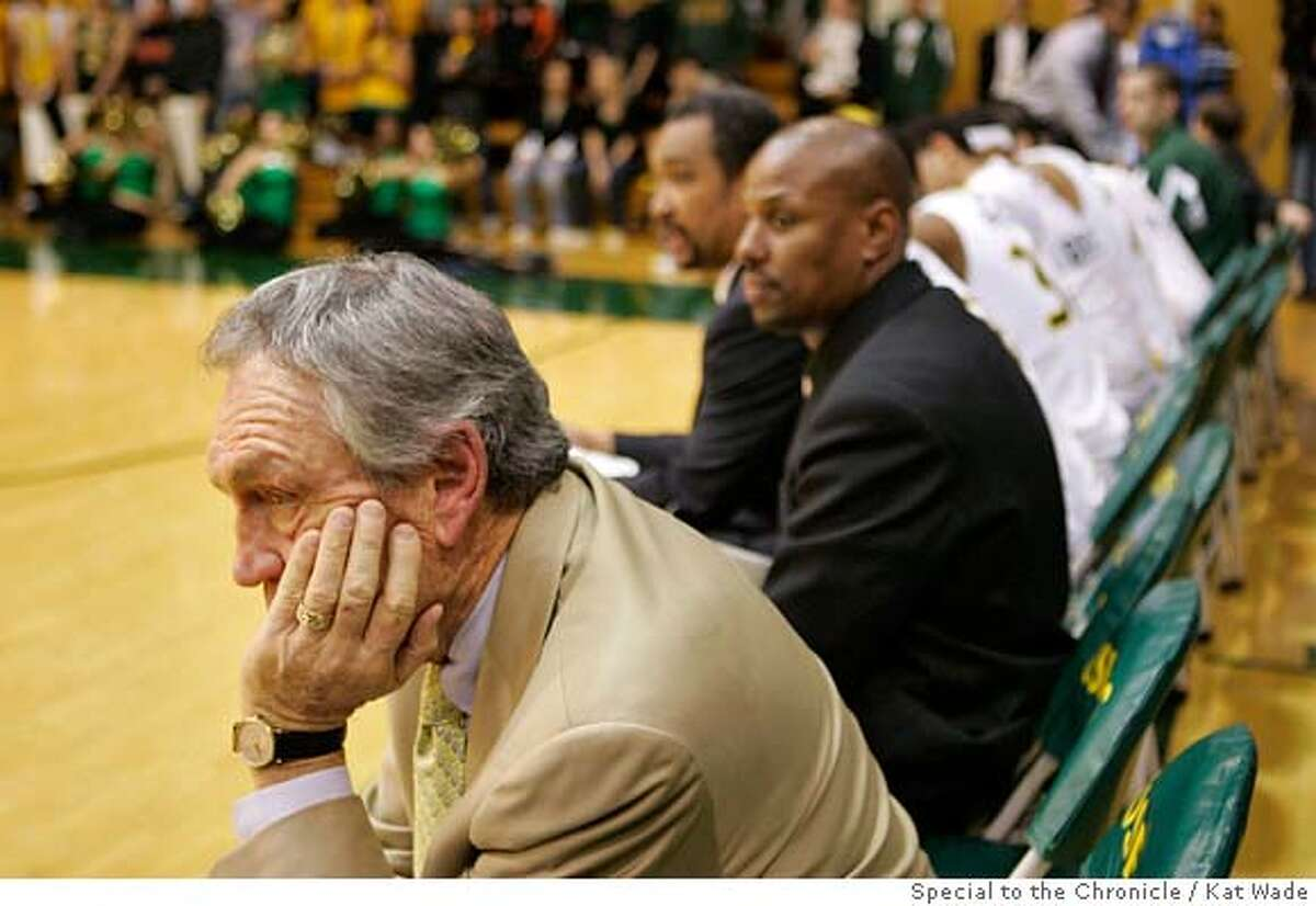 usfMEN_064_KW.JPG Not about to make this his 800th career, USF head coach Eddie Sutton watches the Santa Clara Broncos beat his San Francisco Dons at Memorial Gym on Monday, January 28, 2008 in , Calif.. Santa Clara beat San Francisco with a final score of 66 to 48. Photo by Kat Wade Mandatory Credit for photographer, Kat Wade No Sales/Mags out