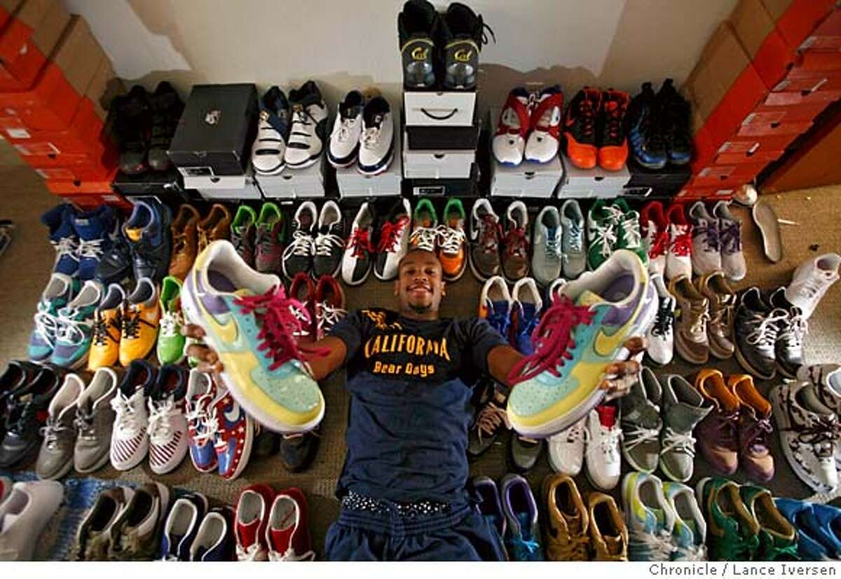 In his apartment, Patrick Christopher, basketball player for U.C. Berkeley, shows off his collection of more than 70 Nike sneakers on Wednesday, Feb. 20, 2008 in Berkeley, Calif. Photo by Mike Kepka / San Francisco Chronicle MANDATORY CREDIT FOR PHOTOG AND SAN FRANCISCO CHRONICLE/NO SALES-MAGS OUT