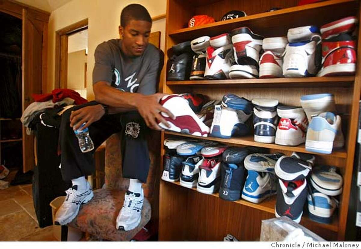Stanford University men's basketball guard Anthony Goods shows off his collection of nearly 50 sneakers in his Palo Alto, CA apartment on February 22, 2008. Photo by Michael Maloney / The Chronicle MANDATORY CREDIT FOR PHOTOG AND SAN FRANCISCO CHRONICLE/NO SALES-MAGS OUT