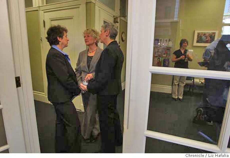 ###Live Caption:At the National Center for Lesbian Rights, Jenny Pizer (left), Lambda legal senior counsel, talking with same sex couple Pali Cooper (middle) and Jeanne Rizzo (right) who are plaintiffs in the marriage cases in the California Supreme Court speak about their case in San Francisco, Calif., on Monday, March 3, 2008. Photo by Liz Hafalia/San Francisco Chronicle###Caption History:At the National Center for Lesbian Rights, Jenny Pizer (left), Lambda legal senior counsel, talking with same sex couple Pali Cooper (middle) and Jeanne Rizzo (right) who are plaintiffs in the marriage cases in the California Supreme Court speak about their case in San Francisco, Calif., on Monday, March 3, 2008. Photo by Liz Hafalia/San Francisco Chronicle###Notes:At the National Center for Lesbian Rights, Jenny Pizer (left), Lambda legal senior counsel, talking with same sex couple Pali Cooper (middle) and Jeanne Rizo (right) who are plaintiffs in the marriage cases in the California Supreme Court. They speak a###Special Instructions:�2008, San Francisco Chronicle/ Liz Hafalia  MANDATORY CREDIT FOR PHOTOG AND SAN FRANCISCO CHRONICLE. NO SALES- MAGS OUT. Photo: Liz Hafalia