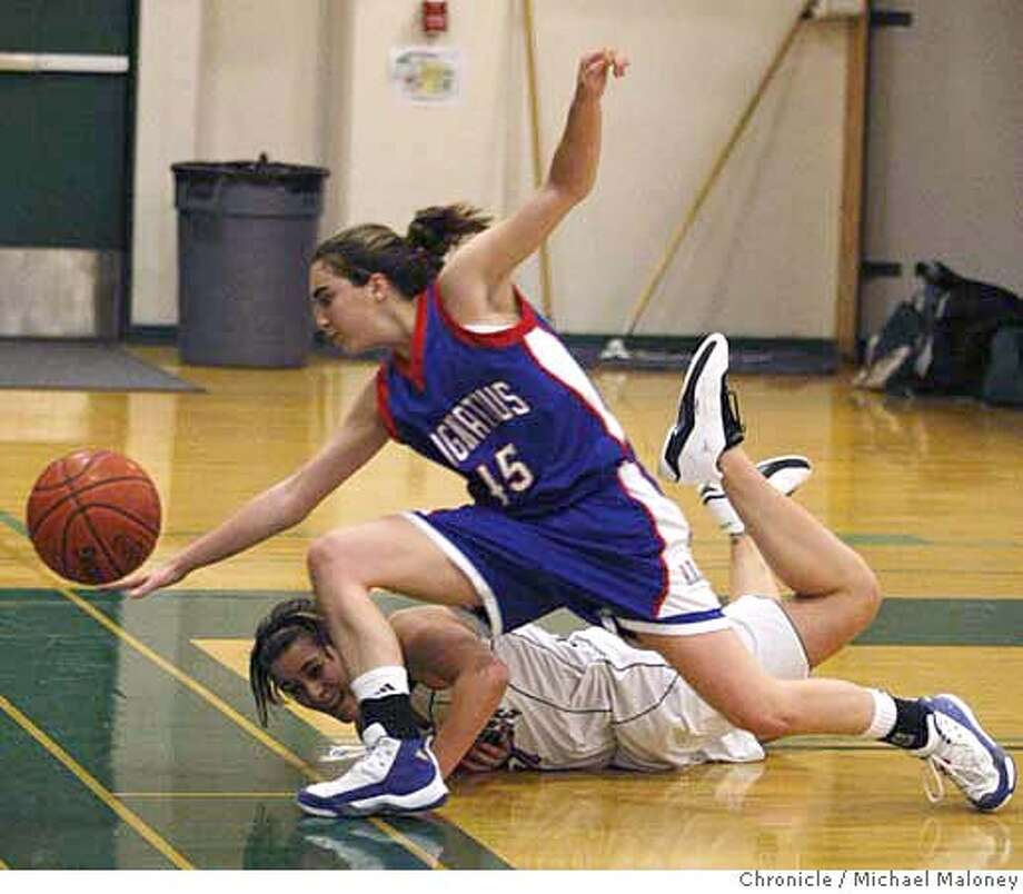 Miramonte's Katie Batlin (21) and St. Ignatius' Caroline Barrack (45) battle for the ball in the 2nd period.  Miramonte high school in Orinda, Calif. hosts San Francisco's St. Ignatius high school in a 1st-round NorCal girl's playoff basketball game Tuesday night, March 4, 2008. Miramonte won 70-54.  Photo by Michael Maloney / San Francisco Chronicle Photo: Michael Maloney