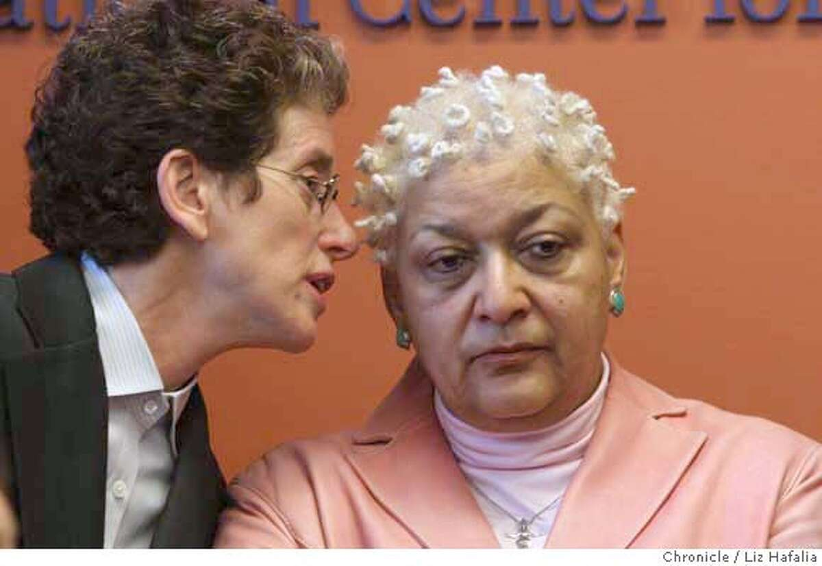 ###Live Caption:At the National Center for Lesbian Rights, same sex couple Diane Sabin (left) and Jewelle Gomez (right) who are plaintiffs in the marriage cases now in the California Supreme Court speak about their case in San Francisco, Calif., on Monday, March 3, 2008. Photo by Liz Hafalia/San Francisco Chronicle###Caption History:At the National Center for Lesbian Rights, same sex couple Diane Sabin (left) and Jewelle Gomez (right) who are plaintiffs in the marriage cases now in the California Supreme Court speak about their case in San Francisco, Calif., on Monday, March 3, 2008. Photo by Liz Hafalia/San Francisco Chronicle###Notes:At the National Center for Lesbian Rights, same sex couple Diane Sabin (left) and Jewelle Gomez (right) who are plaintiffs in the marriage cases in the California Supreme Court speak about their case, which questions the constituionality of state law tha###Special Instructions:�2008, San Francisco Chronicle/ Liz Hafalia MANDATORY CREDIT FOR PHOTOG AND SAN FRANCISCO CHRONICLE. NO SALES- MAGS OUT.