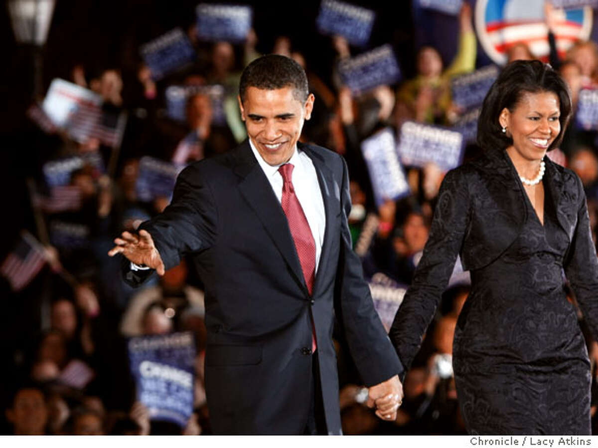 Democratic Presidential Candidate Barack Obama and his wife Michelle greet supporters, as the votes are being tallied in the primaries, Tuesday, March 4, 2008, in San Antonio, Texas. Photo by Lacy Atkins / San Francisco Chronicle Ran on: 03-05-2008 Sen. Hillary Rodham Clinton of New York celebrates at an election night party in Columbus, Ohio, where she had the days first big victory. Ran on: 03-05-2008