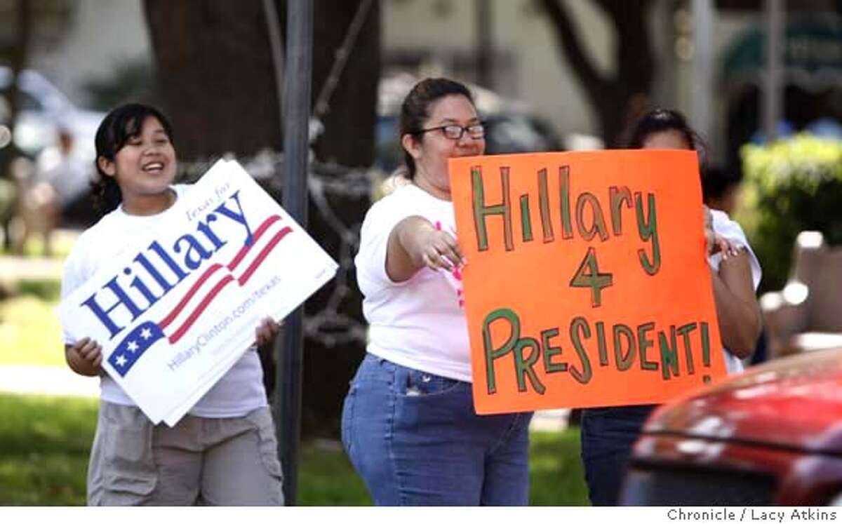 ###Live Caption:Zaffira de Leon, 12 years old, stands with her mother Zafira Serrato de Leon, campaigning for Hillary Clinton to the cars that pass the Historical Plaza de San Augustin, Sunday March 2, 2008, in Laredo, Texas. Photo by Lacy Atkins / San Francisco Chronicle###Caption History:Zaffira de Leon, 12 years old, stands with her mother Zafira Serrato de Leon, campaigning for Hillary Clinton to the cars that pass the Historical Plaza de San Augustin, Sunday March 2, 2008, in Laredo, Texas. Photo by Lacy Atkins / San Francisco Chronicle###Notes:Zafira de Leon Zafira Serrato de Leon###Special Instructions:MANDATORY CREDIT FOR PHOTOG AND SAN FRANCISCO CHRONICLE/NO SALES MAGS OUT