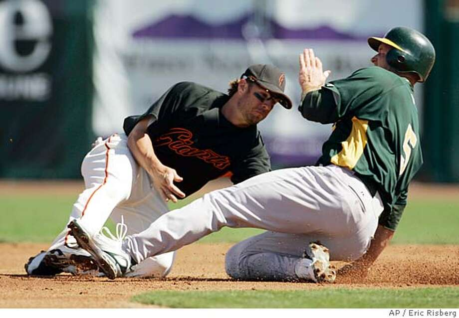 Oakland Athletics' Mike Sweeney, right, safely steals second base as San Francisco Giants shortstop Kevin Frandsen, left, makes a tag during the first inning of their spring training baseball game in Scottsdale, Ariz., Saturday, March 1, 2008. (AP Photo/Eric Risberg) Photo: Eric Risberg