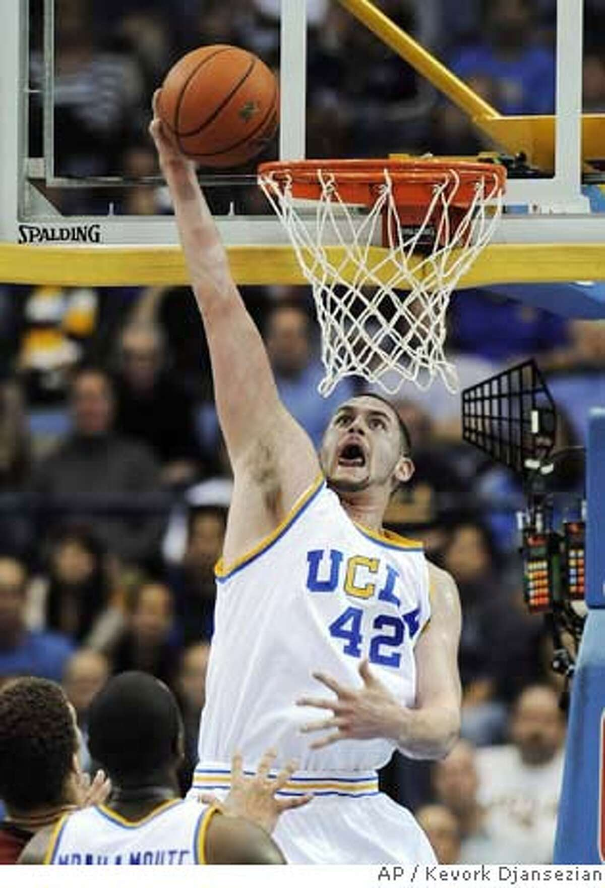 ###Live Caption:UCLA's Kevin Love dunks the ball against Stanford during the first half of the college basketball game in Los Angeles on Thursday, March 6, 2008. (AP Photo/Kevork Djansezian)###Caption History:UCLA's Kevin Love dunks the ball against Stanford during the first half of the college basketball game in Los Angeles on Thursday, March 6, 2008. (AP Photo/Kevork Djansezian)###Notes:Kevin Love###Special Instructions:EFE OUT