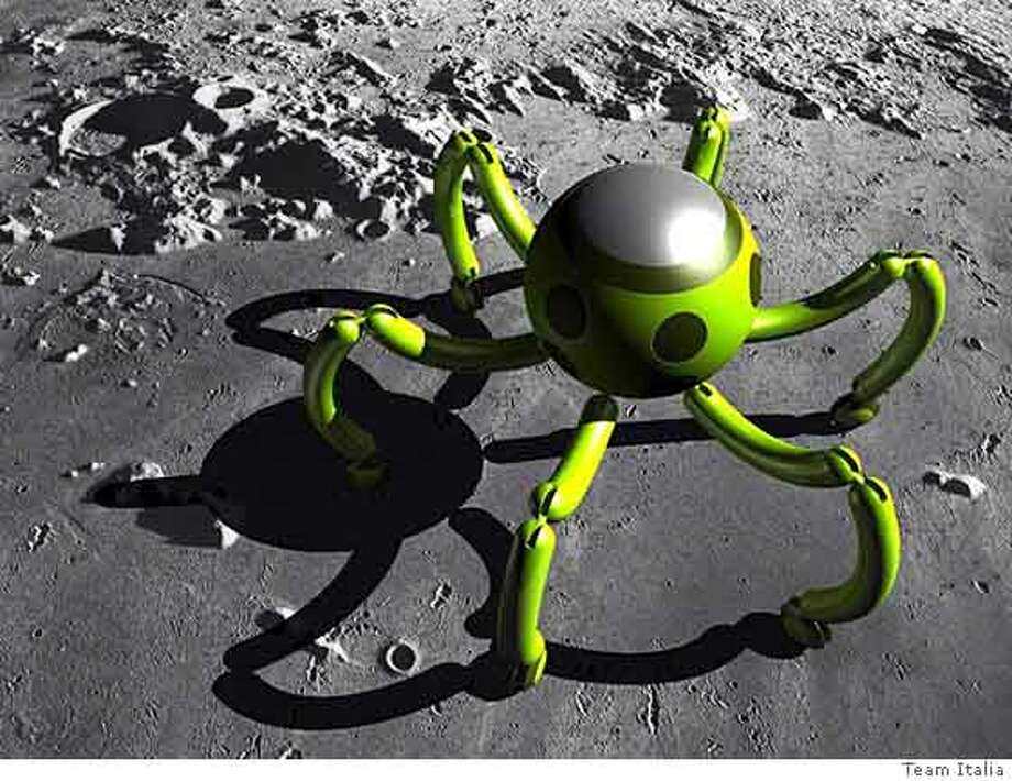 (NYT46) UNDATED -- Feb. 21, 2008 -- MOON-COMPETITION -- A concept photograph of a legged moon rover from Team Italia. More than three decades after the last Apollo astronauts roamed the lunar surface, a disparate collection of universities, open-source engineers and quixotic aerospace startups are planning to launch their own robotic missions to the Earth's barren cousin. The return to the moon is part of the Google Lunar X Prize, a competition sponsored by the company with $30 million in prizes for the first two teams to land a robotic rover on the moon and send images and other data back home. (Team Italia via The New York Times)*EDITORIAL USE ONLY*  Ran on: 02-22-2008  A leggy moon rover is shown in concept photo from Team Italia, one idea for landing a moon robot to send back images, other data.  Ran on: 02-22-2008  A leggy moon rover is shown in concept photo from Team Italia, one idea for landing a moon robot to send back images, other data. Photo: TEAM ITALIA