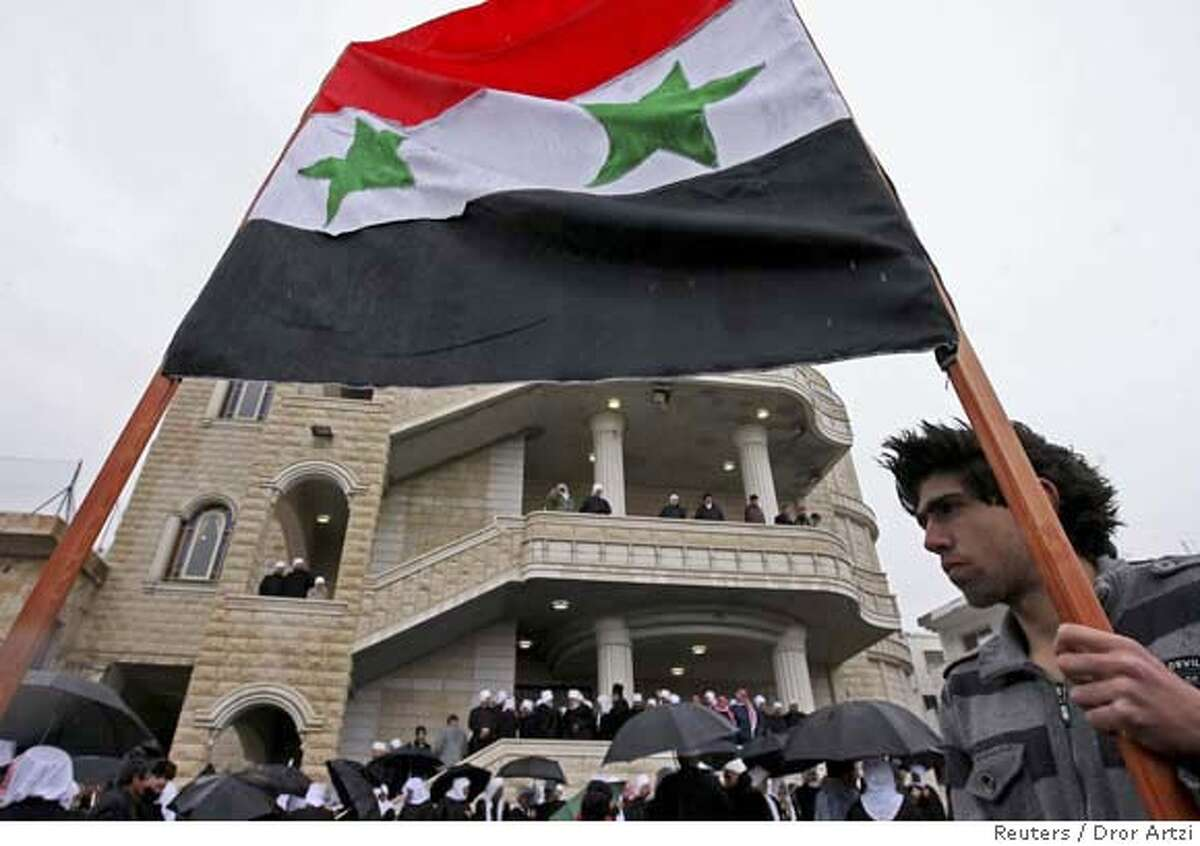 ###Live Caption:Druze demonstrators take part in a protest against Israel's annexation of the Golan Heights in the northern Druze village of Majdal Shams in the Golan Heights February 14, 2008. Israel captured the Golan Heights from Syria in the 1967 Middle East war and annexed the territory in 1981, a move not recognised internationally. REUTERS/Dror Artzi/JINI (ISRAEL) ISRAEL OUT###Caption History:Druze demonstrators take part in a protest against Israel's annexation of the Golan Heights in the northern Druze village of Majdal Shams in the Golan Heights February 14, 2008. Israel captured the Golan Heights from Syria in the 1967 Middle East war and annexed the territory in 1981, a move not recognised internationally. REUTERS/Dror Artzi/JINI (ISRAEL) ISRAEL OUT###Notes:Druze demonstrators take part in a protest in Majdal Shams Druze demonstrators take part in a protest in Majdal Shams###Special Instructions:0