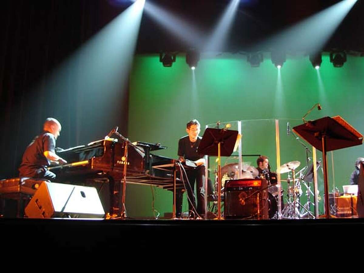 Bjorkestra members Art Hirahara, piano; Alex Fortuit, electronic percussion; Joe Abbatantuono drums. This is a handout photo from their publicist for a 96 Hours nightlife story. The band plays in the Bay Area in March 2008.
