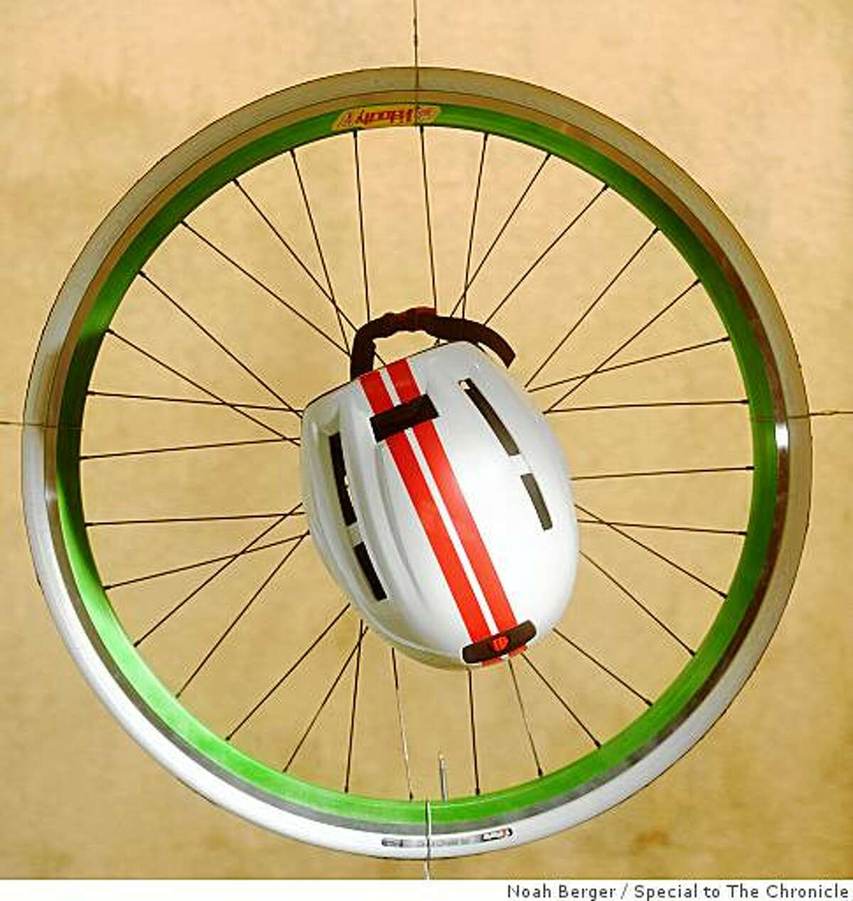 An Urbanize helmet from Lazer hangs at Mission Bicycle Company on Monday, July 6, 2009, in San Francisco.