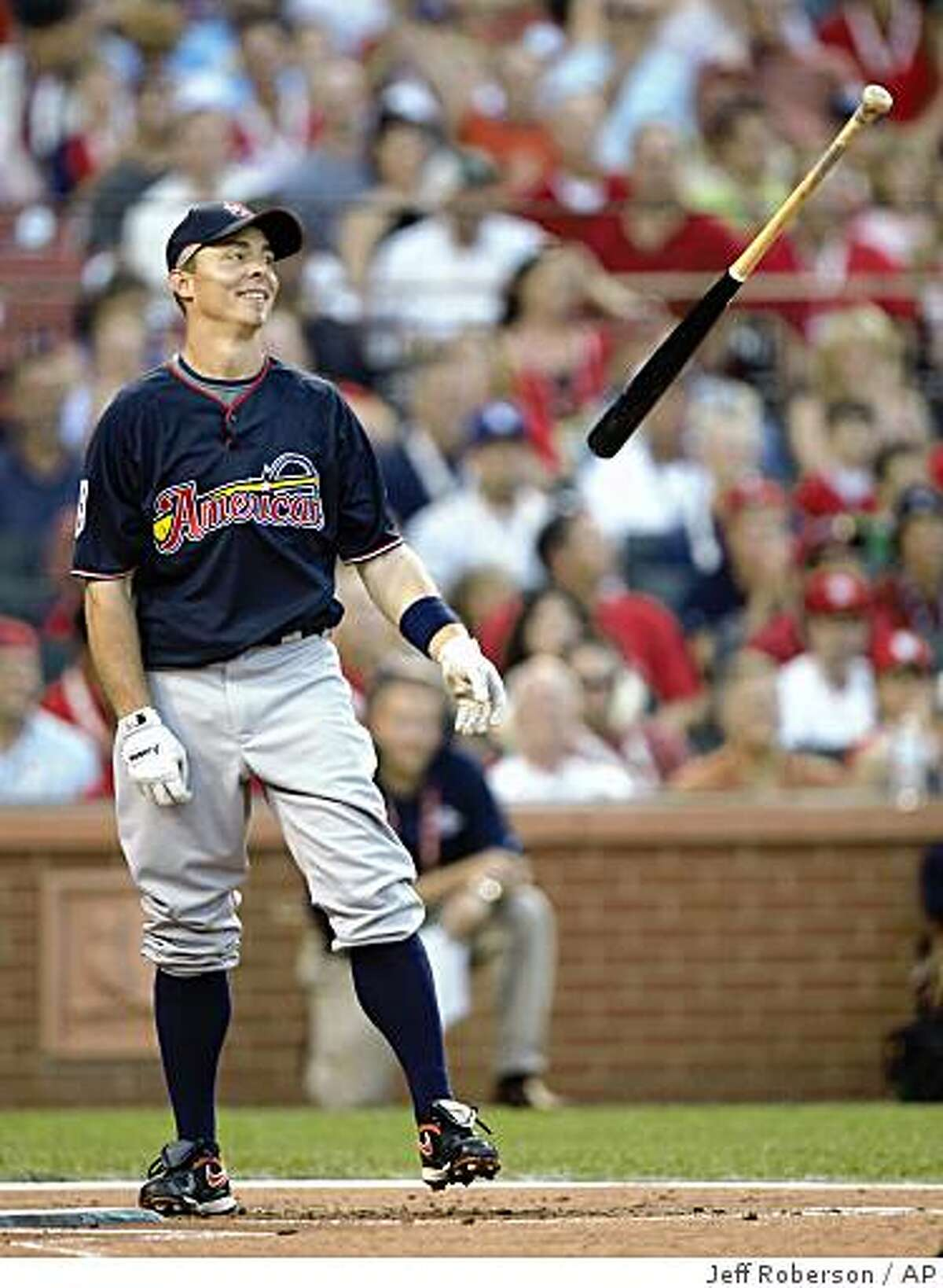 American League's Brandon Inge of the Detroit Tigers flips his bat after getting no home runs in the first round of the MLB baseball Home Run Derby in St. Louis, Monday, July 13, 2009. (AP Photo/Jeff Roberson)