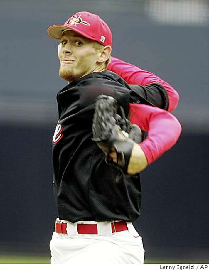 In this photo taken on Friday, April 3, 2009, Stephen Strasburg, of San Diego State University, pitches during a game in San Diego. Considered one of the best prospects in draft history, Strasburg is expected to go No. 1 to the Washington Nationals on Tuesday night June 9, 2009.   (AP Photo/Lenny Ignelzi) Photo: Lenny Ignelzi, AP