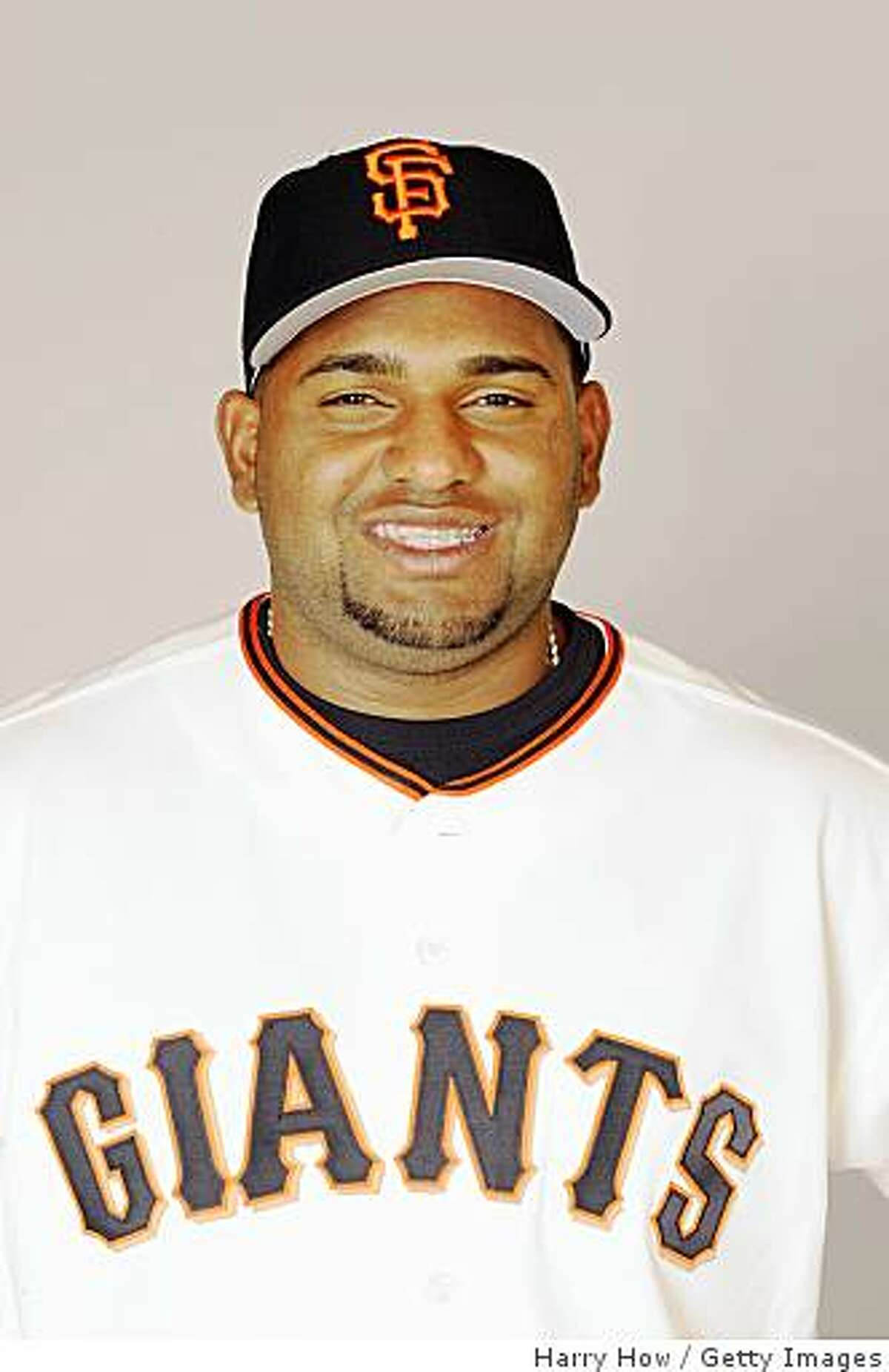 SCOTTSDALE, ARIZONA - FEBRUARY 23: Pablo Sandoval of the San Francisco Giants poses during photo day at Scottsdale Stadium on February 23, 2009 in Scottsdale, Arizona. (Photo by: Harry How/Getty Images)