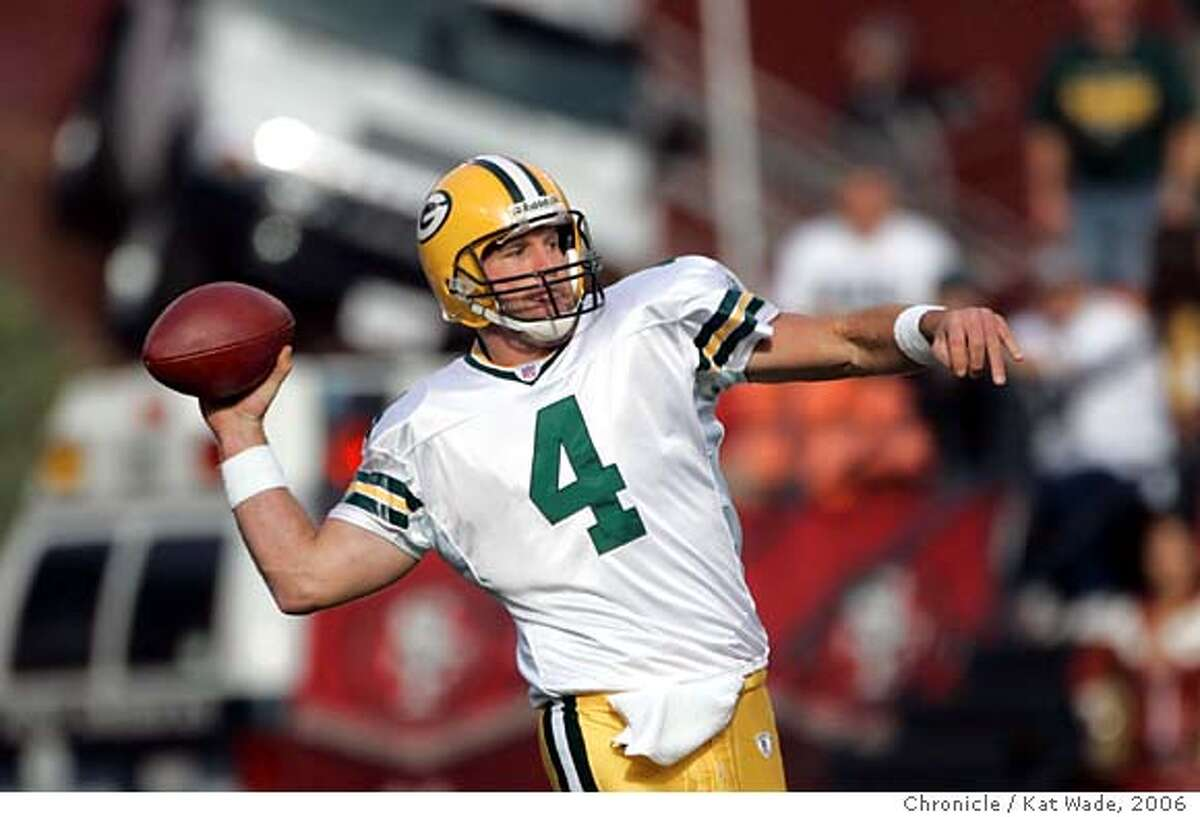 49ers10_0064_KW_.jpg The Green Bay Packer's Brett Favre throws a touch down pass in the first quarter of the game against the San Francisco 49er's game at Monster Park in San Francisco on Sunday December 10, 2006. Kat Wade/The Chronicle ALSO Ran on: 12-11-2006 Brett Favre didnt look past his prime against the 49ers at Candlestick, throwing for two touchdowns and topping 3,000 yards for the 15th time. Ran on: 02-11-2007 The Raiders are rumored to be willing to part with Randy Moss for a third-round pick and another receiver. Green Bay may go for it.