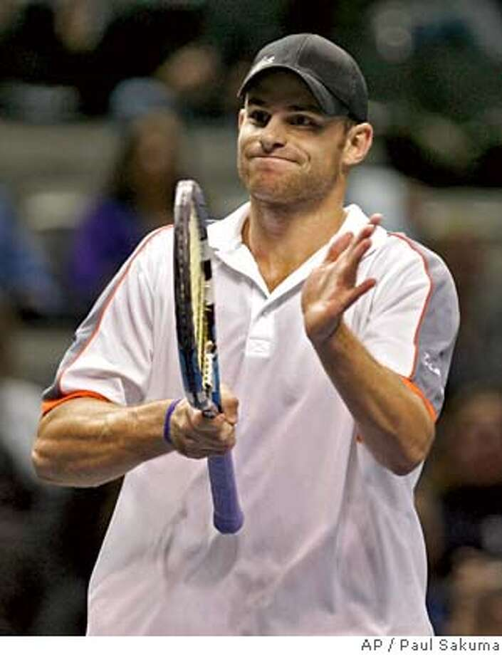 Andy Roddick smiles after winning a point against Chris Guccione, of Australia, in the SAP Open tennis tournament in San Jose, Calif., Wednesday Feb. 20, 2008. Nishikori won 7-5, 6-3. (AP Photo/Paul Sakuma) EFE OUT Photo: Paul Sakuma