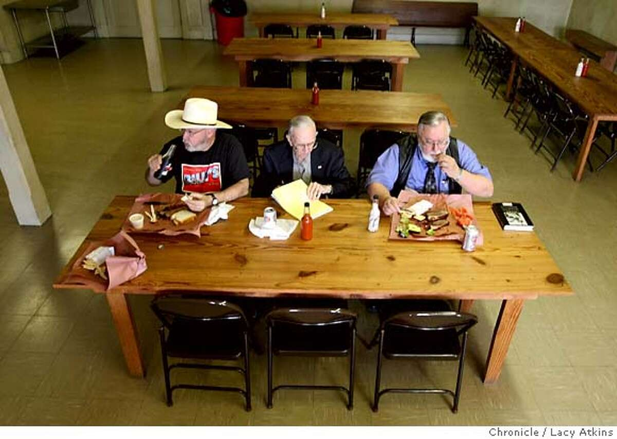 Richard Banks, left, Richard Wieland and Bil Fielder enjoy their barbeque lunch before the Bar Association Meeting, Friday Feb. 31, 2008 at Smitty's BBQ in Lockhard, Texas. Photo by Lacy Atkins / San Francisco Chronicle
