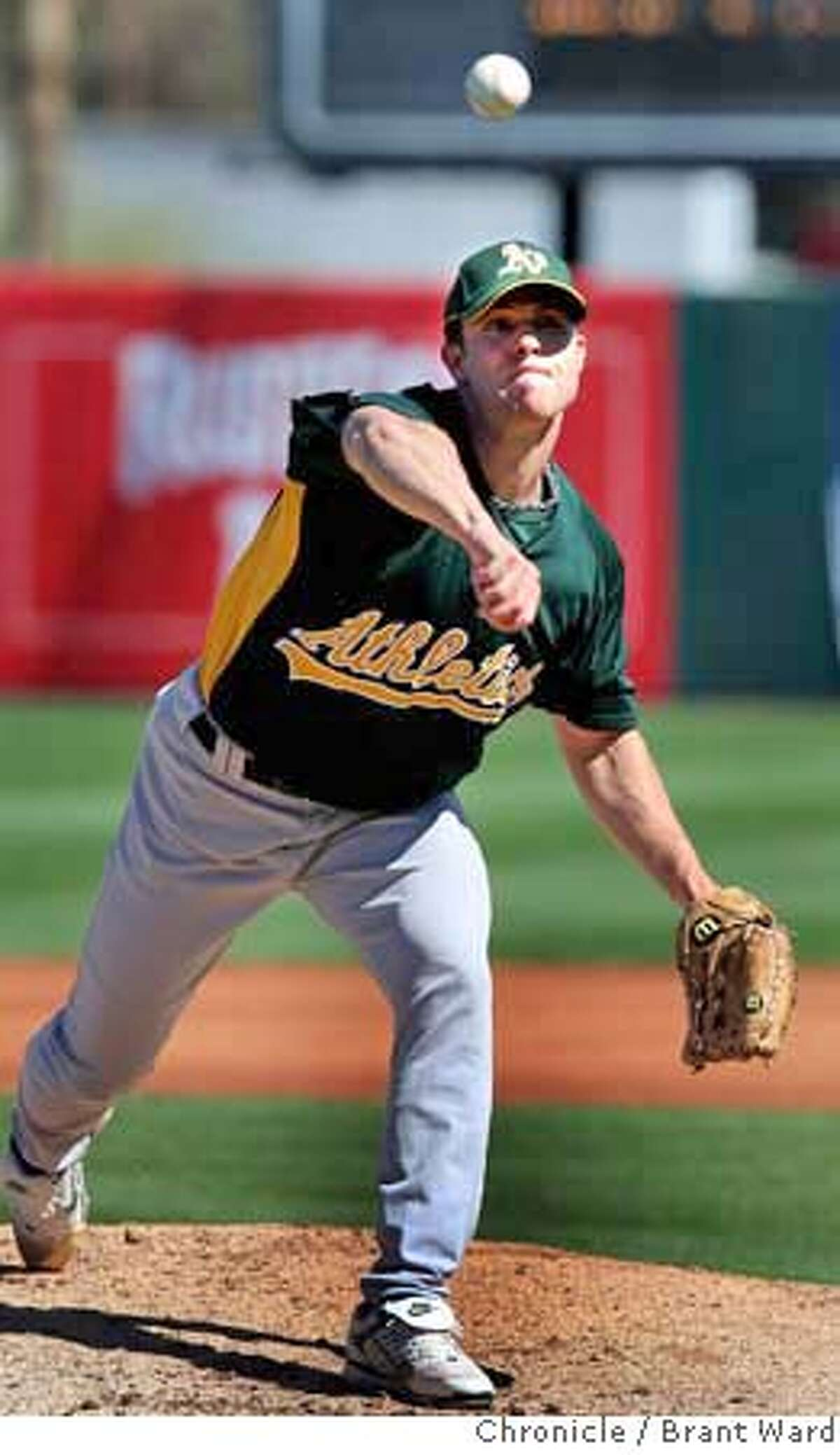 Rich Harden pitched three strong innings in his debut for the 2008 season. On March 4, 2008 the Oakland Athletics played the Los Angeles Angels at Tempe Diablo Stadium in a spring training game. Photo by Brant Ward / San Francisco Chronicle
