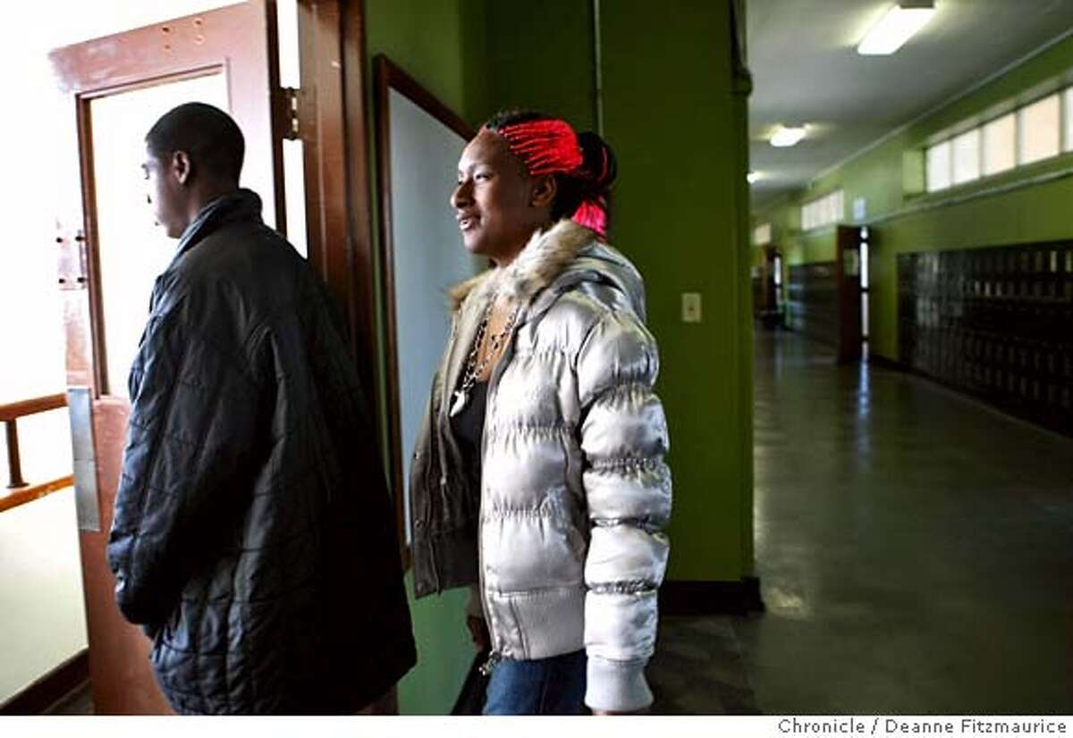 ###Live Caption:Jacqueela Winston, 17, and her brother Tyshawn Guilory, 16, walk downstairs to lunch which is donated by local restaurants in San Francisco's new truancy center at the YMCA Bayview on February 28, 2008 in San Francisco, Calif. Photo by Deanne Fitzmaurice / San Francisco Chronicle###Caption History:Jacqueela Winston, 17, and her brother Tyshawn Guilory, 16, walk downstairs to lunch which is donated by local restaurants in San Francisco's new truancy center at the YMCA Bayview on February 28, 2008 in San Francisco, Calif. Photo by Deanne Fitzmaurice / San Francisco Chronicle###Notes:Jacqueela Winston, (cq), and her brother Tyshawn Guilory, (cq)###Special Instructions:Mandatory credit for photographer and San Francisco Chronicle. No Sales/Magazines out.