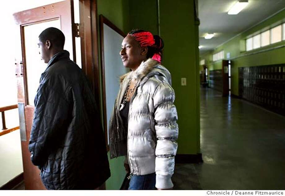 ###Live Caption:Jacqueela Winston, 17, and her brother Tyshawn Guilory, 16, walk downstairs to lunch which is donated by local restaurants in San Francisco's new truancy center at the YMCA Bayview on February 28, 2008 in San Francisco, Calif. Photo by Deanne Fitzmaurice / San Francisco Chronicle###Caption History:Jacqueela Winston, 17, and her brother Tyshawn Guilory, 16, walk downstairs to lunch which is donated by local restaurants in San Francisco's new truancy center at the YMCA Bayview on February 28, 2008 in San Francisco, Calif. Photo by Deanne Fitzmaurice / San Francisco Chronicle###Notes:Jacqueela Winston, (cq), and her brother Tyshawn Guilory, (cq)###Special Instructions:Mandatory credit for photographer and San Francisco Chronicle. No Sales/Magazines out. Photo: Deanne Fitzmaurice