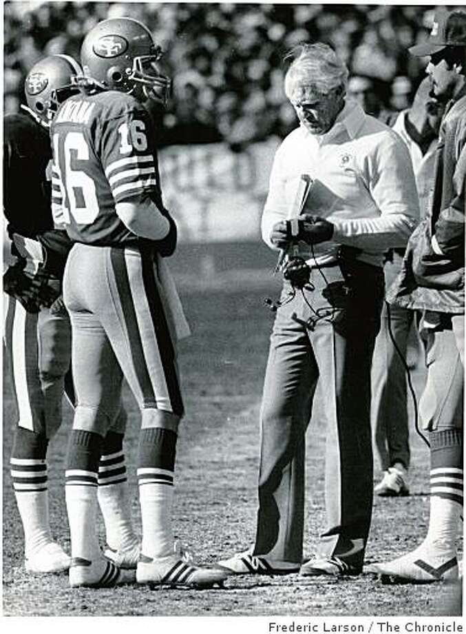 Coach Bill Walsh and quarterback Joe Montana guided the 49ers of 1984 to a 15-1 regular-season mark and a record 18 wins through Super Bowl XIX.  Ran on: 12-28-2007 Photo: Frederic Larson, The Chronicle