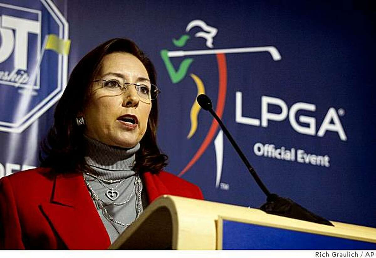 FILE -- This is a Nov. 19, 2008 file photo showing LPGA commissioner Carolyn Bevins speaking at a news conference in West Palm Beach, Fla. The LPGA Tour, Monday July 13, 2009, says Carolyn Bivens is out as commissioner and that Marsha Evans will take over as acting commissioner while the organization looks for a replacement. (AP Photo/Palm Beach Post, Rich Graulich, File)
